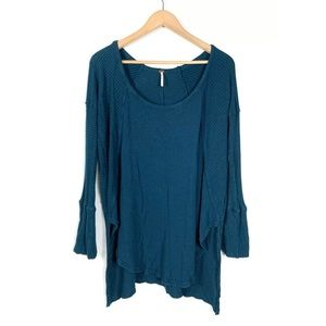 Free People Top Thermal Green Large Waffle Knit